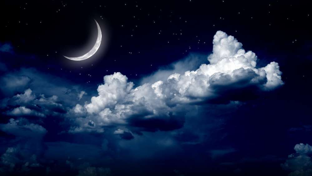 Starry night sky with the moon wallpaper