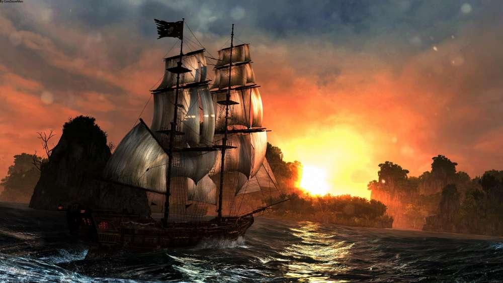 Masted sailing ship fantasy art wallpaper