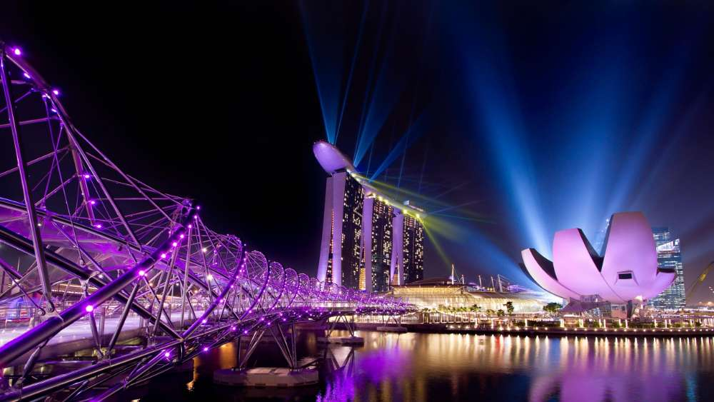 Helix Bridge and Marina Bay, Singapore wallpaper