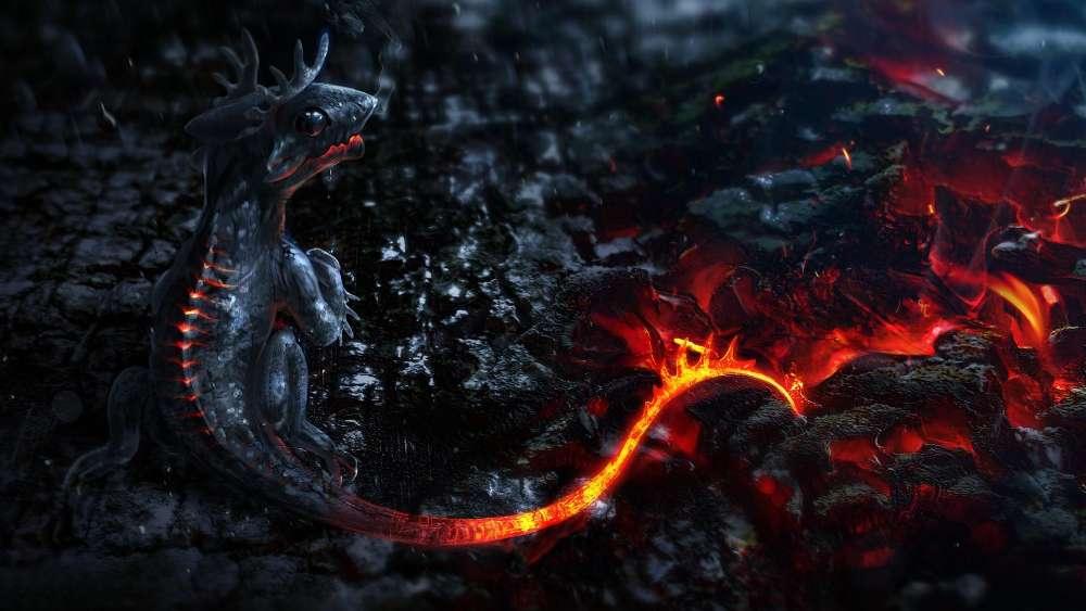 Baby fire dragon wallpaper