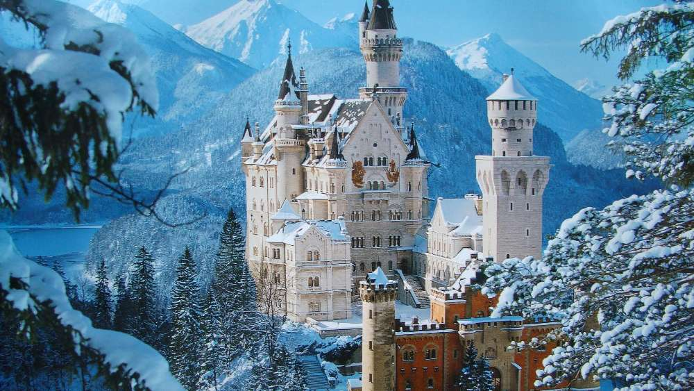 Neuschwanstein Castle at winter wallpaper