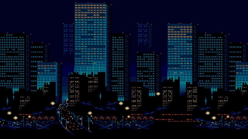 Illuminated night cityscape - Minimalist pixel art wallpaper