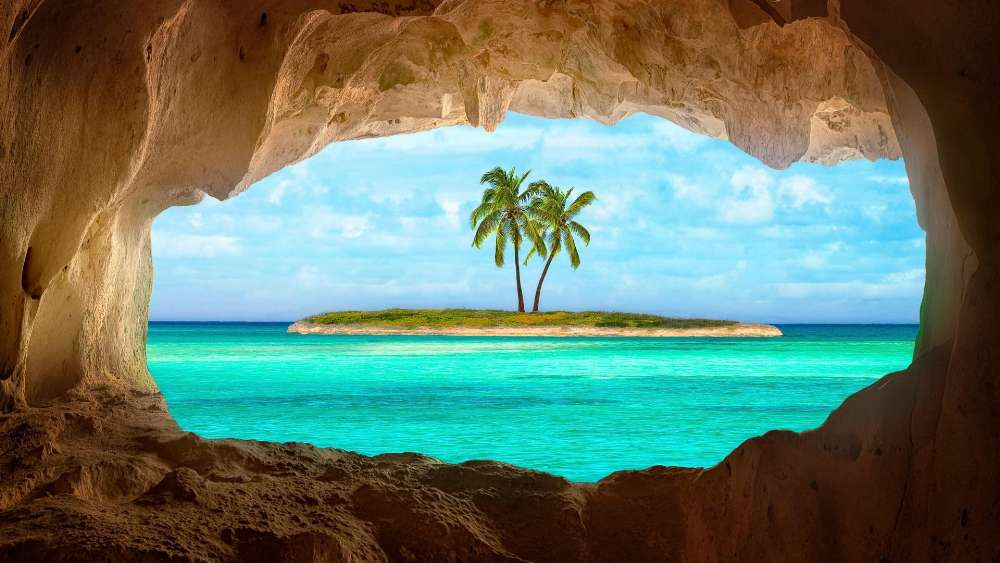 Old Indian cave on Turks and Caicos Island wallpaper