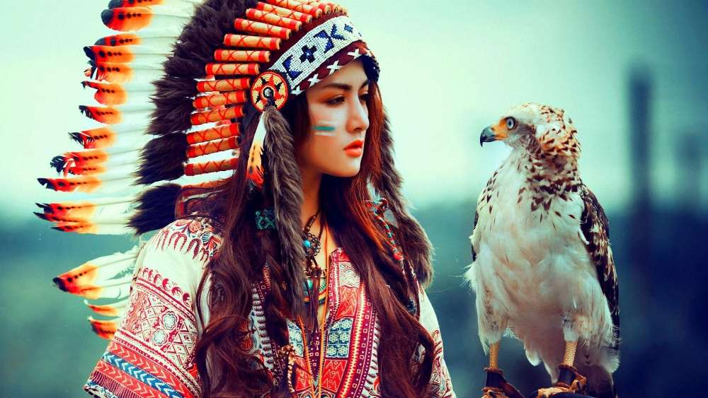 Native American Girl With Eagle wallpaper