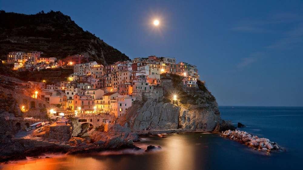 Manarola at night - Cinque Terre, Italy wallpaper