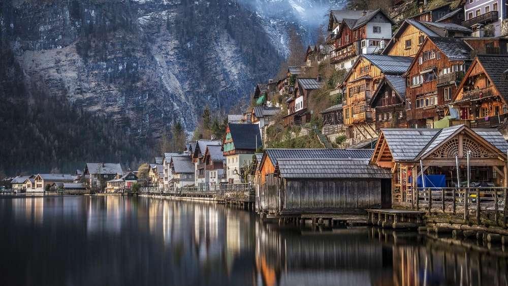 Mountain village in the Alps - Hallstatt in Salzkammergut, Austria wallpaper