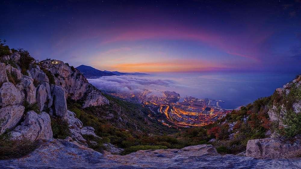 Monaco at dusk wallpaper