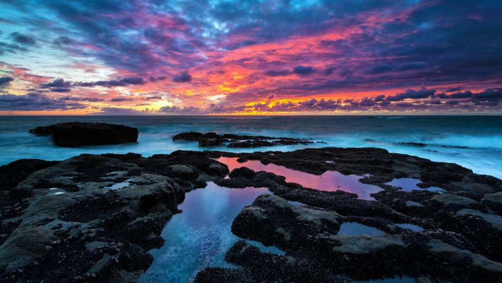 Cloudy sunrise over the sea wallpaper