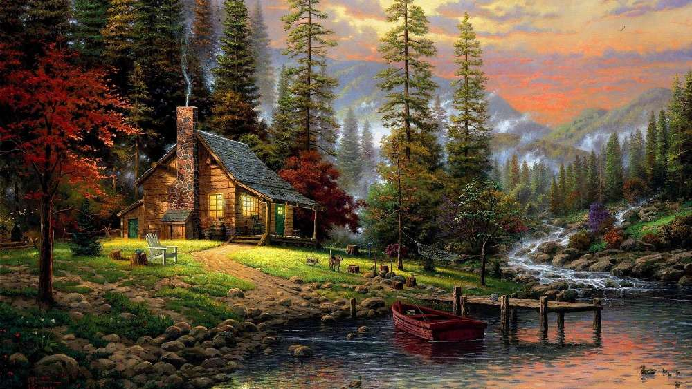 Chalet Painting art wallpaper