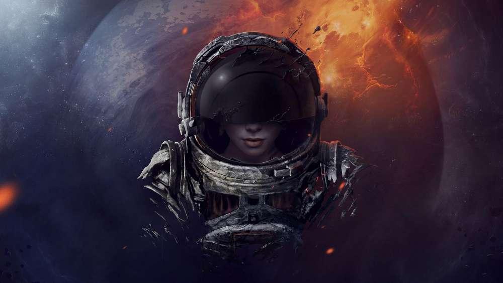 Cosmonaut woman wallpaper