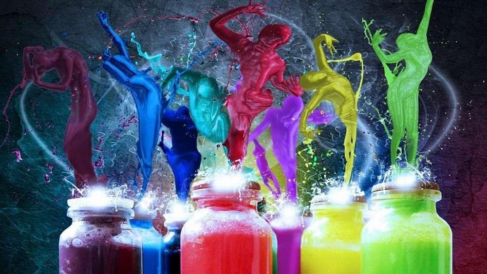 Human figures  color splash wallpaper