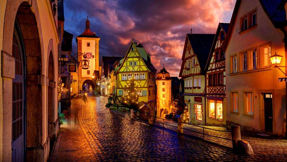 Beautiful night street in Rothenburg wallpaper