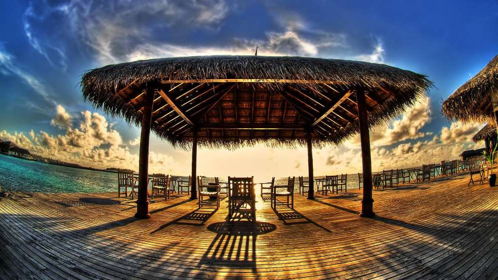 Seaside dock in the sunlight - Fisheye photography wallpaper