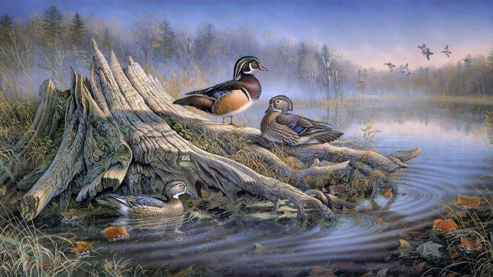 Ducks in the autumn lake - Painting art wallpaper