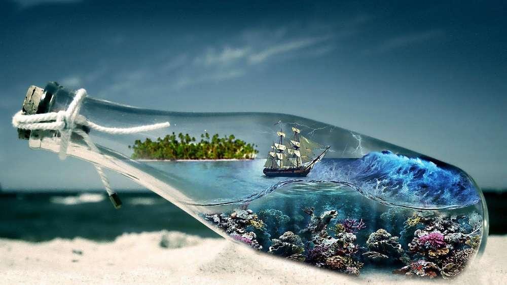 Storm vision in a bottle - Fantasy art wallpaper