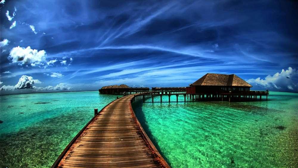 Caribbean overwater bungalow wallpaper