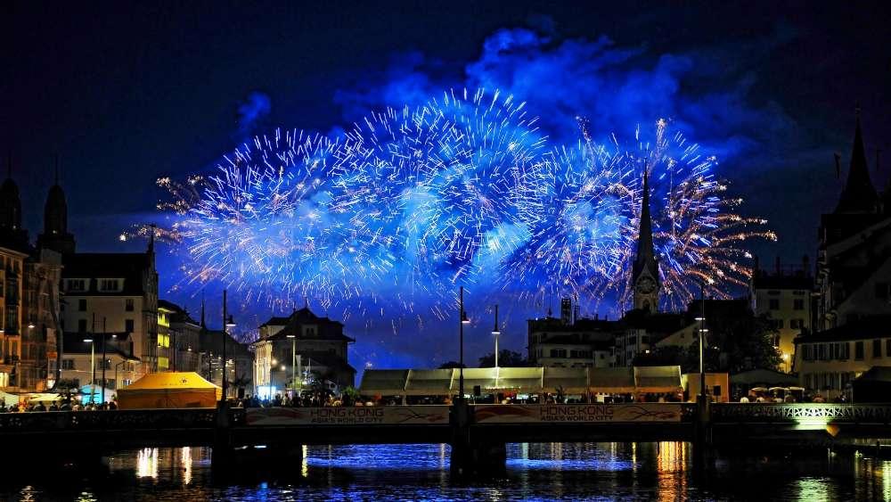 Blue fireworks wallpaper