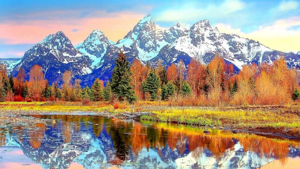 Teton Range reflected in Snake River wallpaper