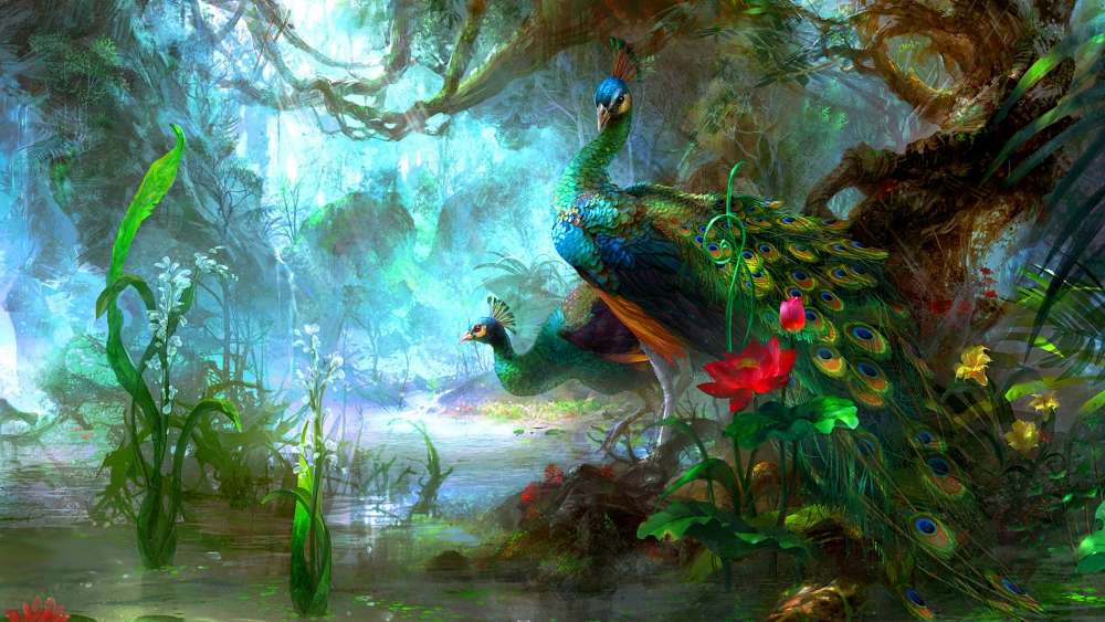 Peafowl - Painting art wallpaper