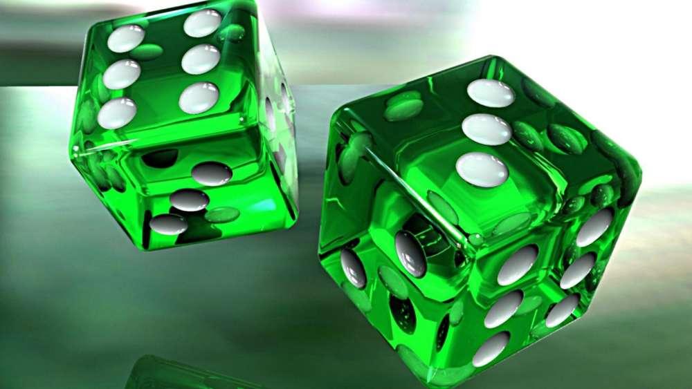 Green 3D dice wallpaper