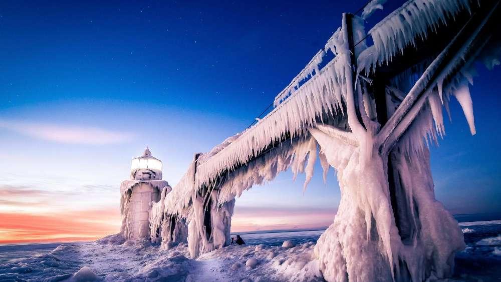 Icy Saint Joseph Lighthouse wallpaper