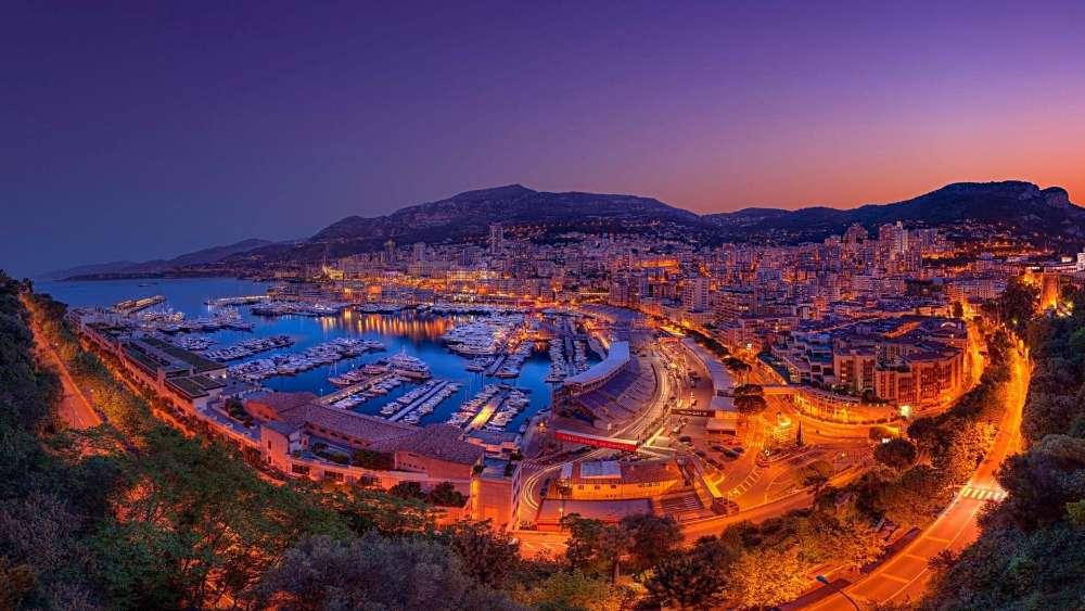 Monte-Carlo skyline at night wallpaper