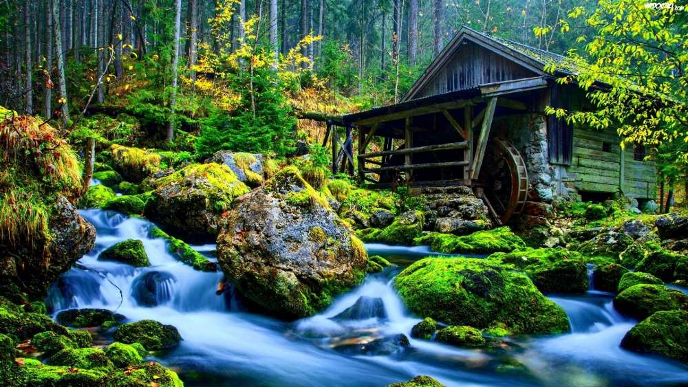 Old water mill, Gollinger Waterfall, Austria wallpaper