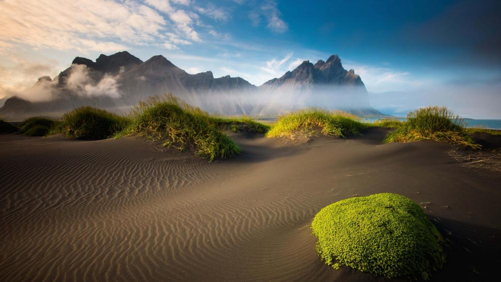 Vestrahorn Mountains from Vatnajokull National Park wallpaper