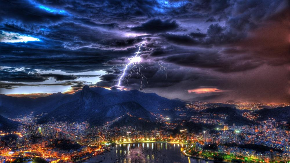 Lightning above Rio de Janeiro wallpaper