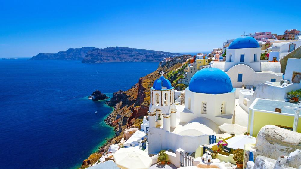 Iconic cityscape of Santorini wallpaper