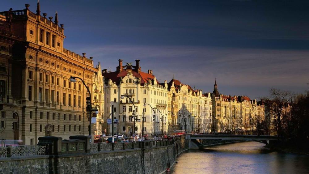 Prague and Vltava River wallpaper