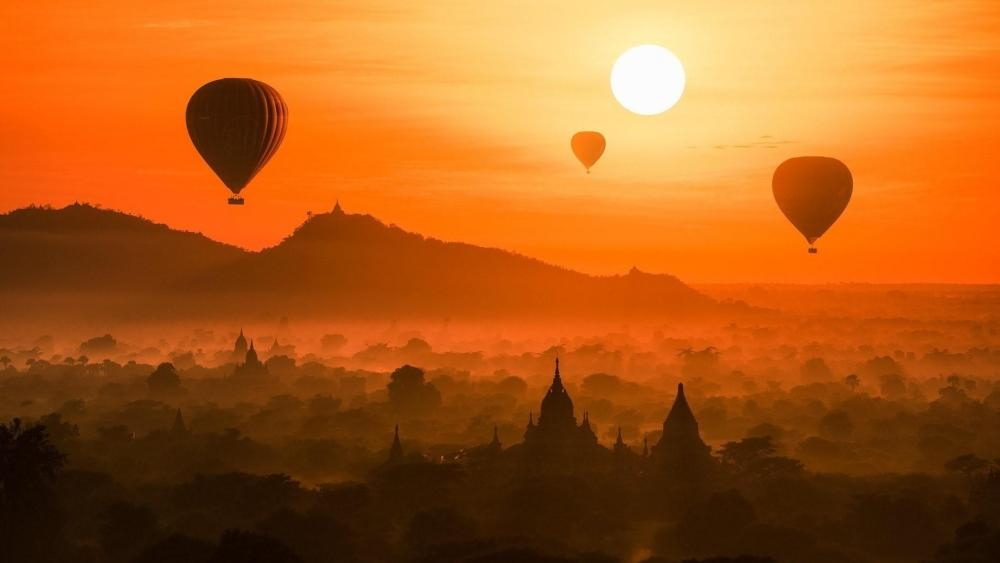 Yangon sunset (Burma) wallpaper
