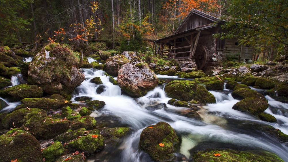 Gollinger Waterfall old mill wallpaper