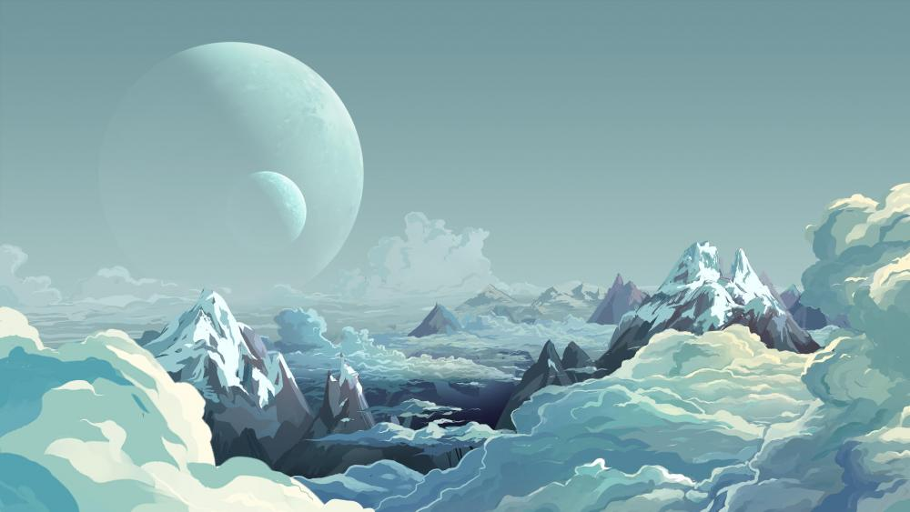 Icy planet minimalistic digital art wallpaper