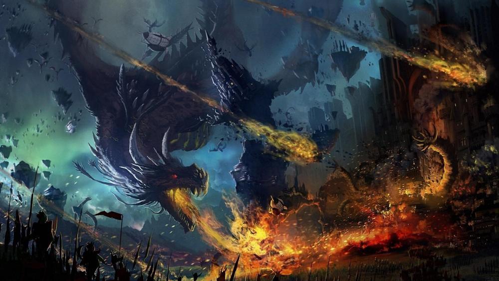 Fire-breathing dragon  wallpaper