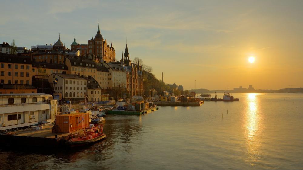 Stockholm at sunrise wallpaper