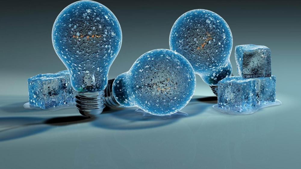 Cool ice cubes and bulbs wallpaper