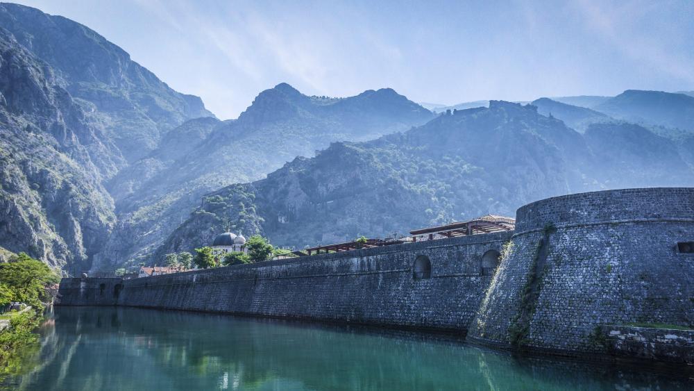 Kotor city walls in Skurda river - Montenegro wallpaper