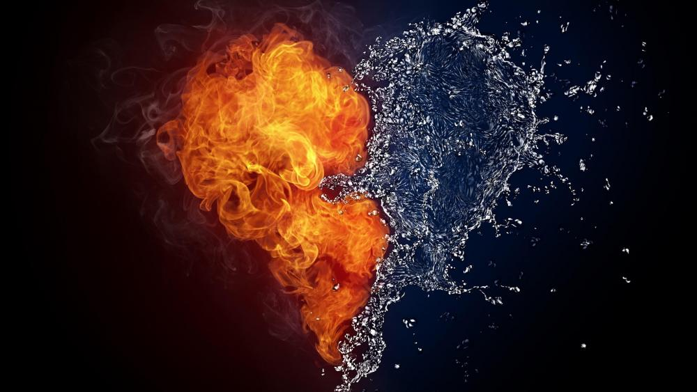 Fire and water heart wallpaper