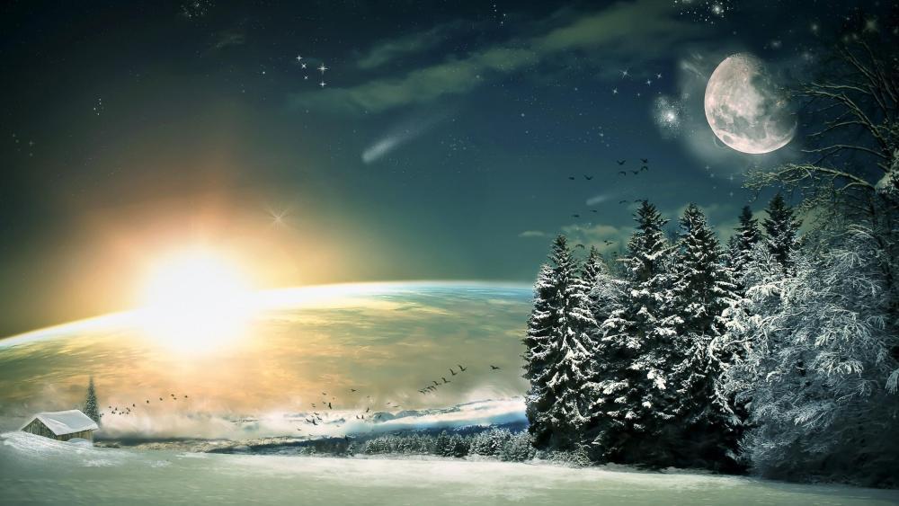 Fantasy winter landscape wallpaper
