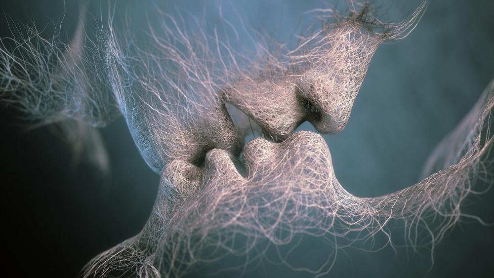 3D digitl art kiss wallpaper
