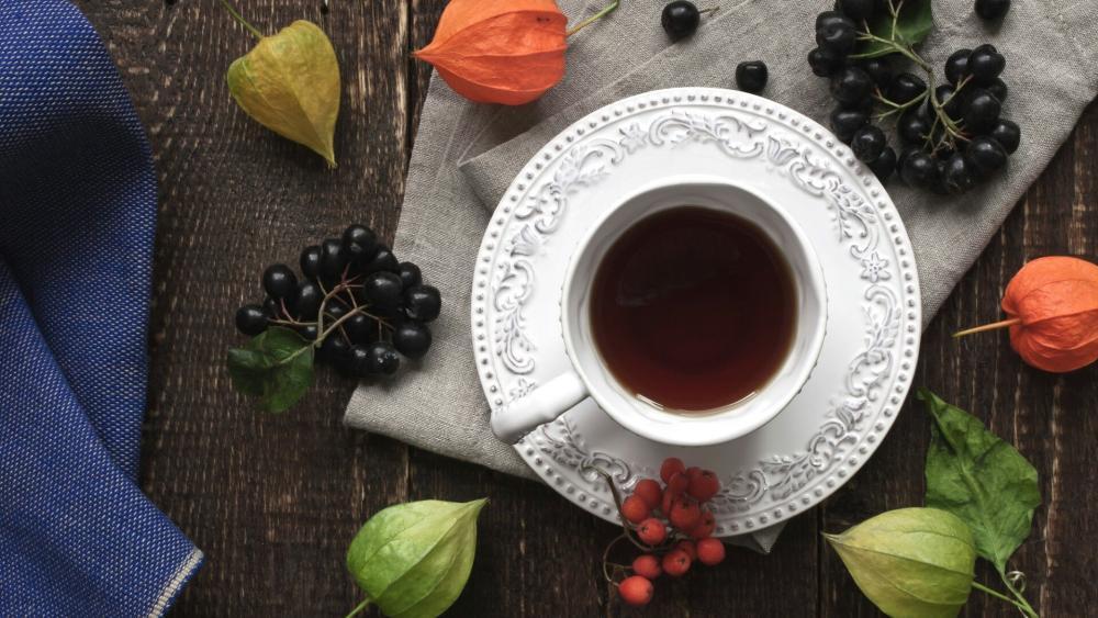 Romantic teacup wallpaper
