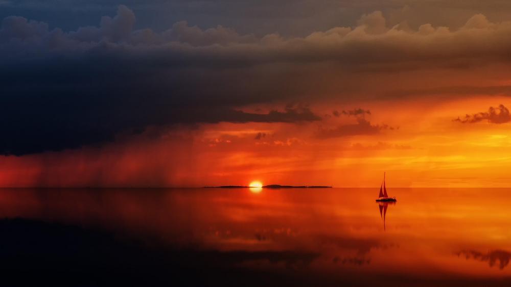 Sunset at sea wallpaper