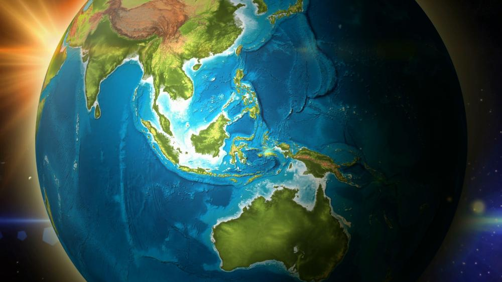Earth from the space zoom to Indonesia wallpaper