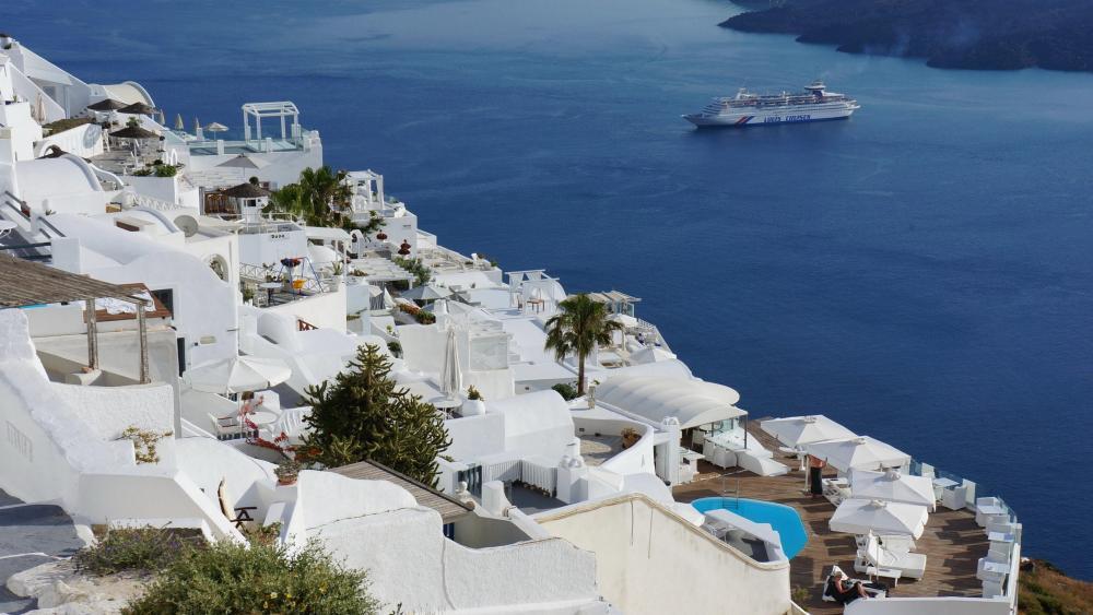 Greek village in Santorini wallpaper