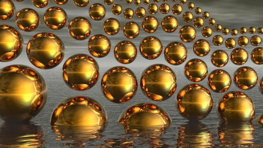 Gold spheres wallpaper
