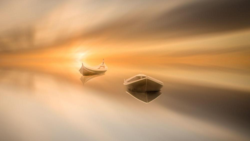 Sunset with boats wallpaper