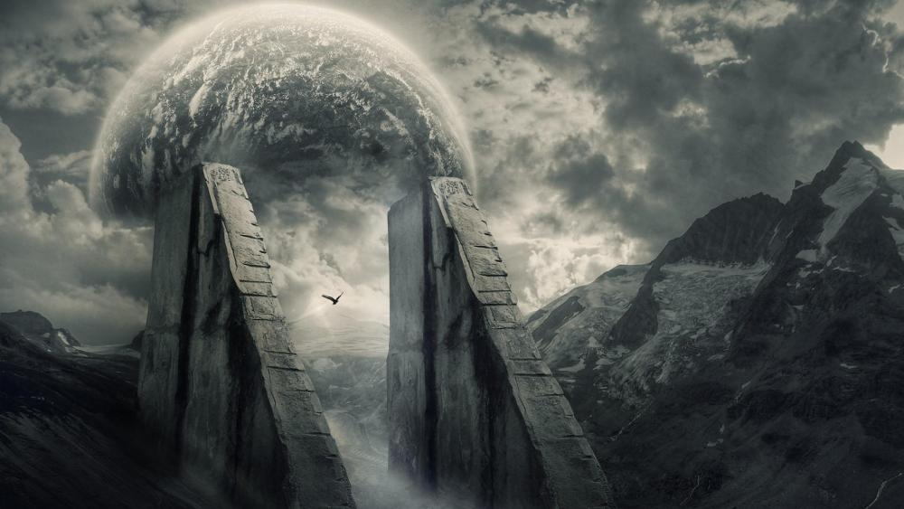 Fantasy art with planet on the sky wallpaper
