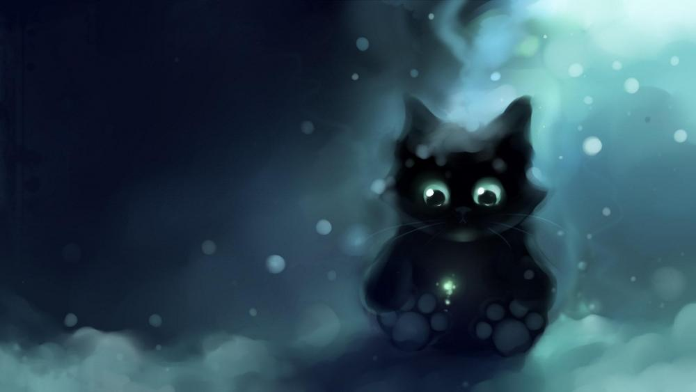 Cute black cat illustration  wallpaper