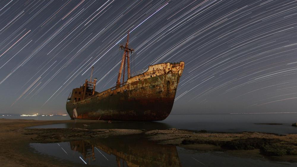 Dimitrios shipwreck - Valtaki beach, Gythio, Greece wallpaper